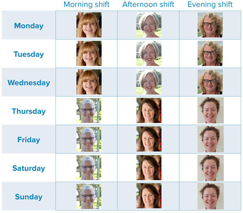 elder home care 24 hour carer roster