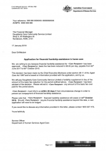 Financial Hardship Letter home care package basic daily fee