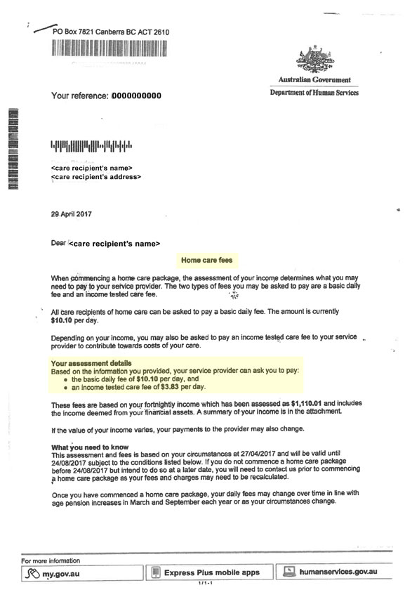 Home Care fees letter