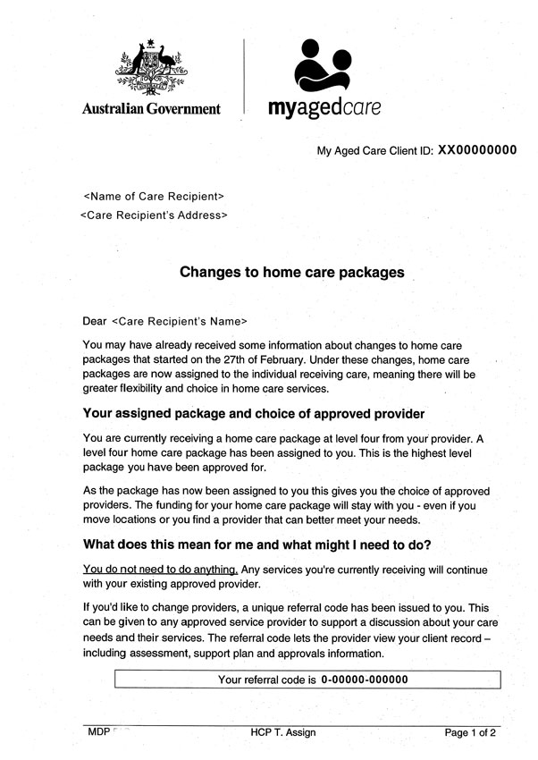 Changes to Home Care packages letter