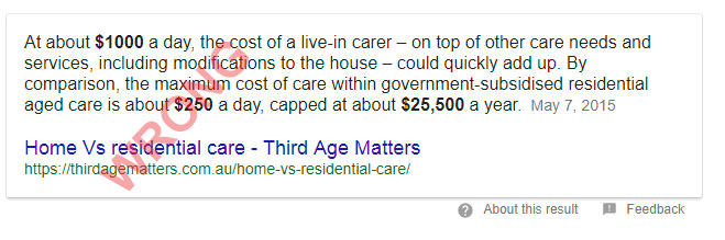 google snippet home residential care