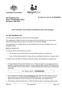 My Aged Care home care package letter