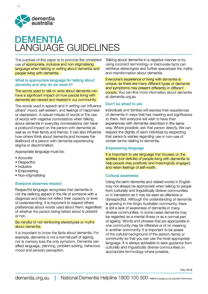 Dementia Language Guidelines frontotemporal vascular lewy body parkinsons alzheimers disease