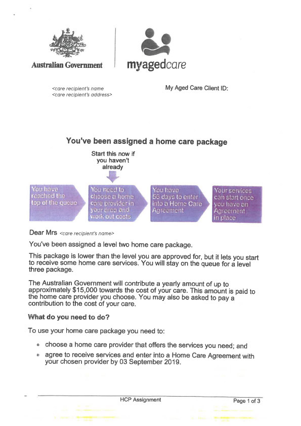 Assigned Home Care Package Letter Page 1