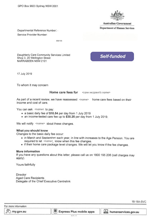 Fee advice letter from Department of Human Services